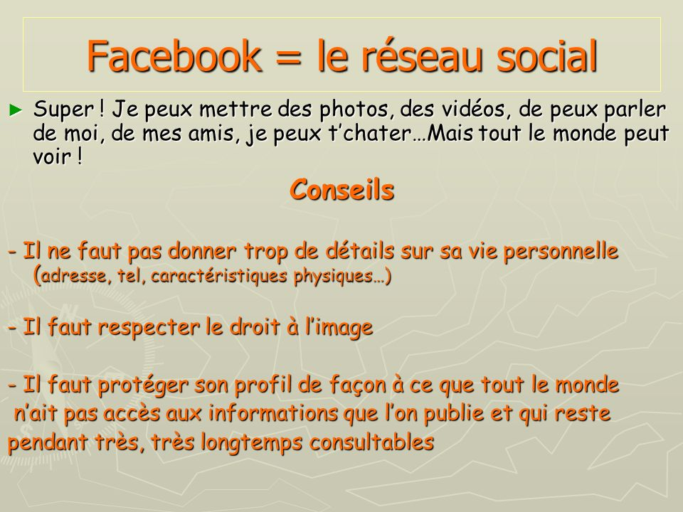 Facebook = le réseau social