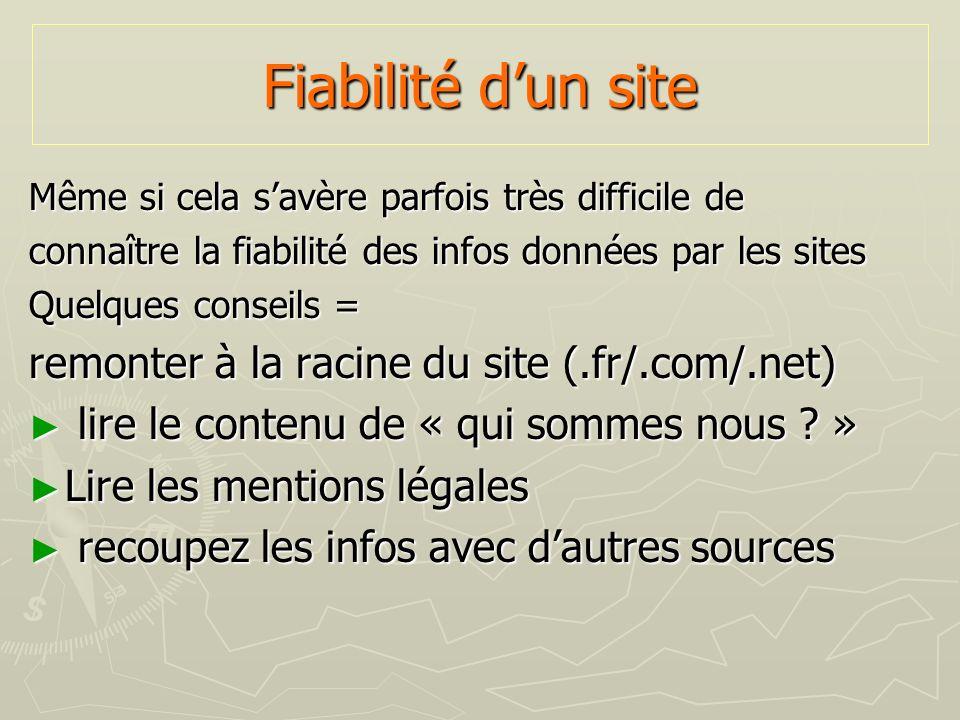 Fiabilité d'un site remonter à la racine du site (.fr/.com/.net)
