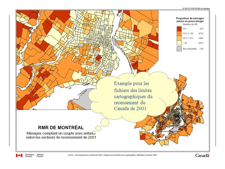 fichiers des limites cartographiques du recensement du Canada de 2001
