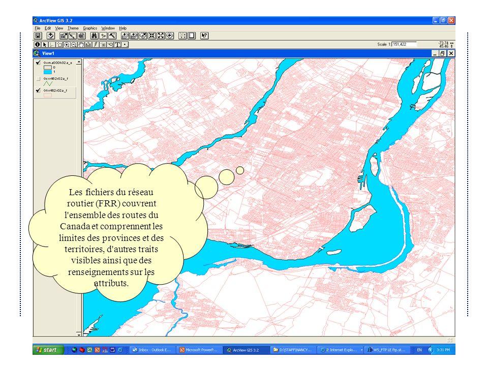 Les fichiers du réseau routier (FRR) couvrent l ensemble des routes du Canada et comprennent les limites des provinces et des territoires, d autres traits visibles ainsi que des renseignements sur les attributs.