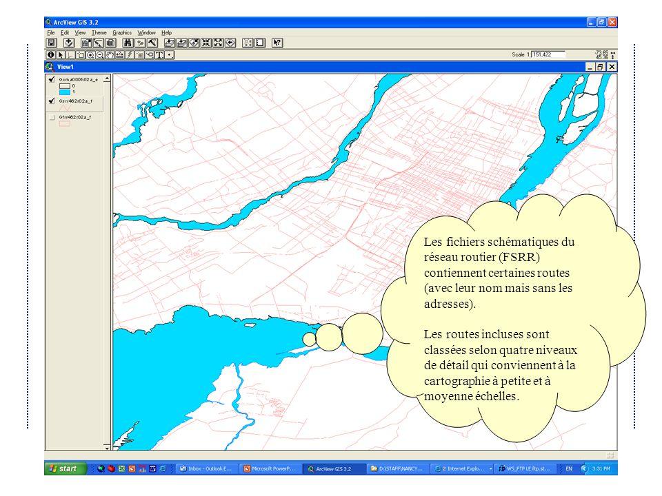 Les fichiers schématiques du réseau routier (FSRR) contiennent certaines routes (avec leur nom mais sans les adresses).