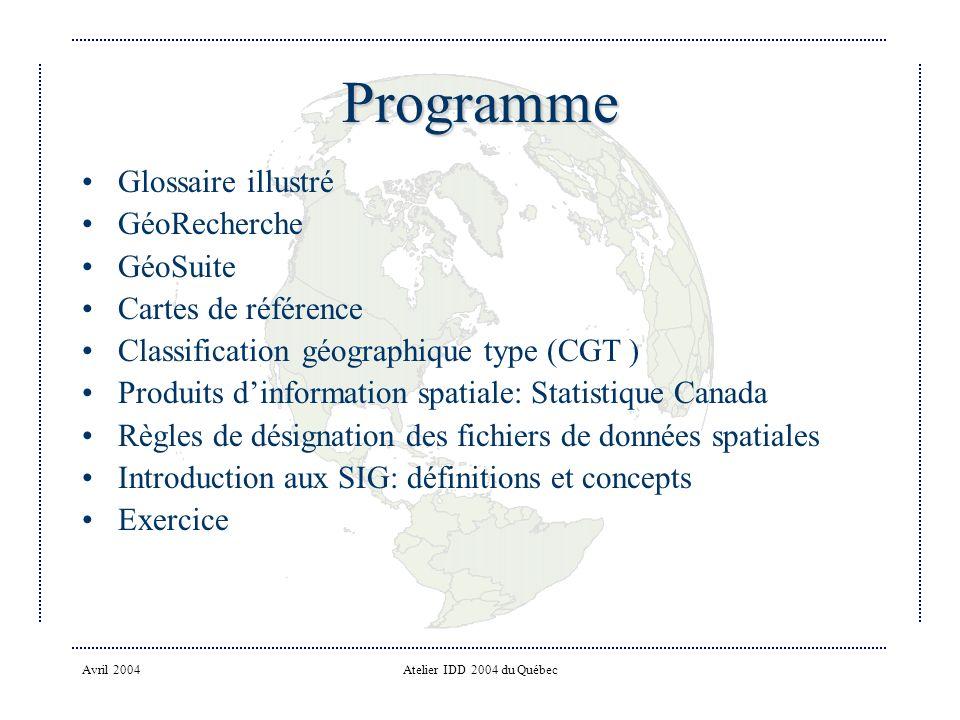Programme Glossaire illustré GéoRecherche GéoSuite Cartes de référence