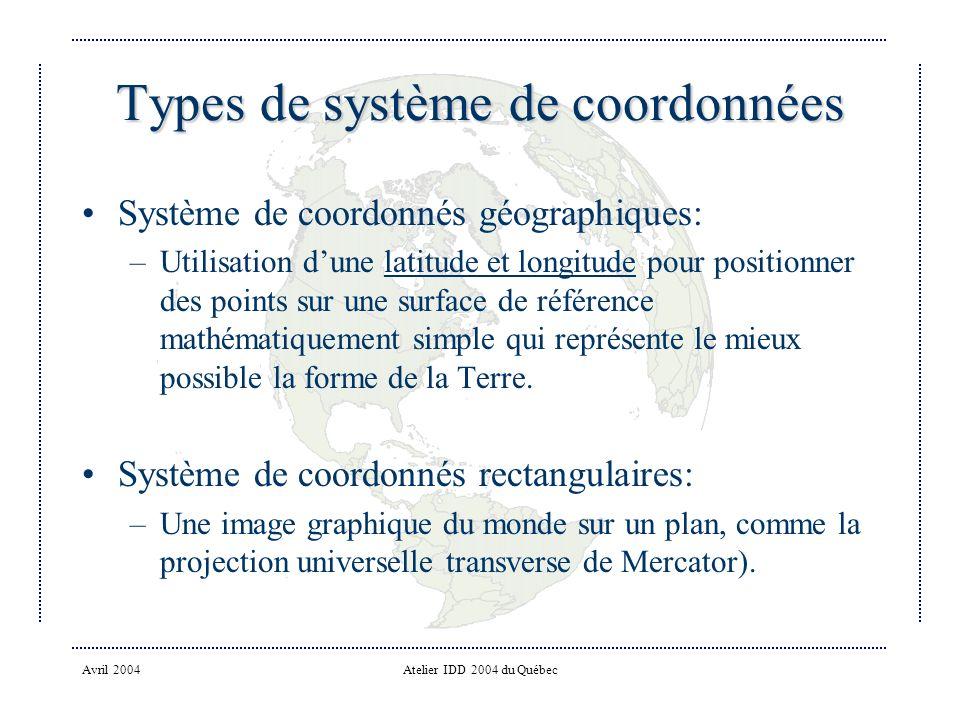 Types de système de coordonnées
