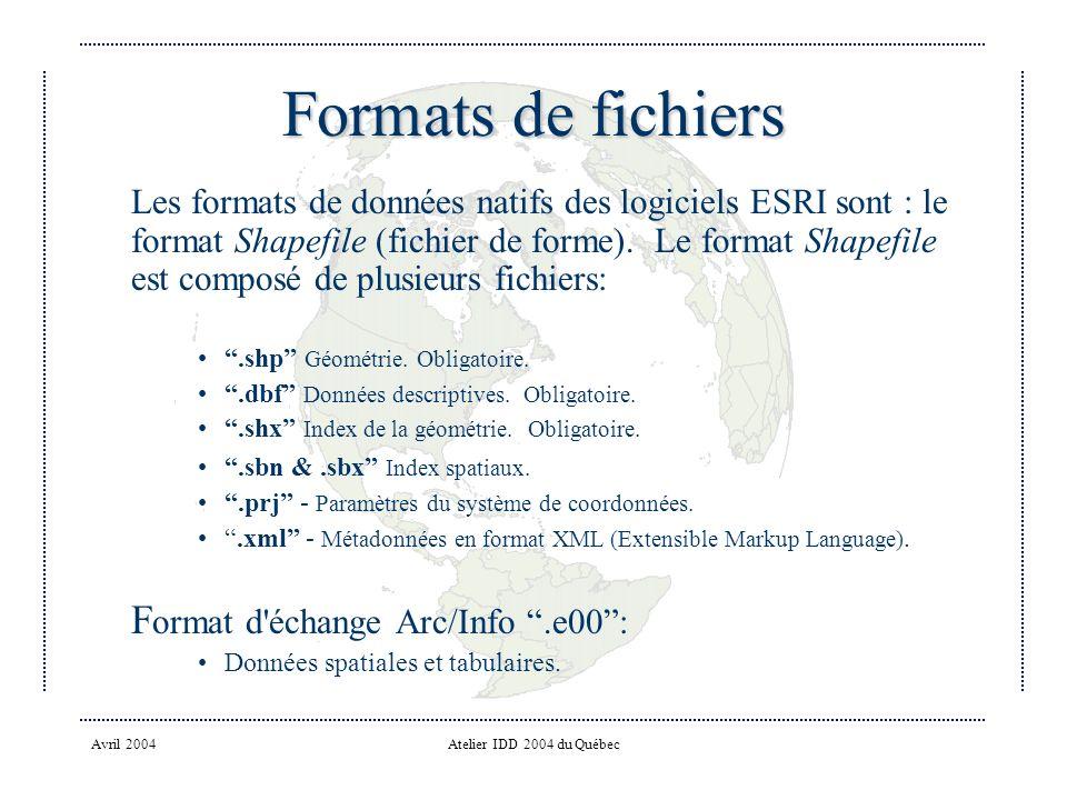 Formats de fichiers Format d échange Arc/Info .e00 :