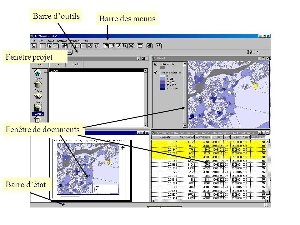 Barre d'outils Barre des menus Fenêtre projet Fenêtre de documents Barre d'état