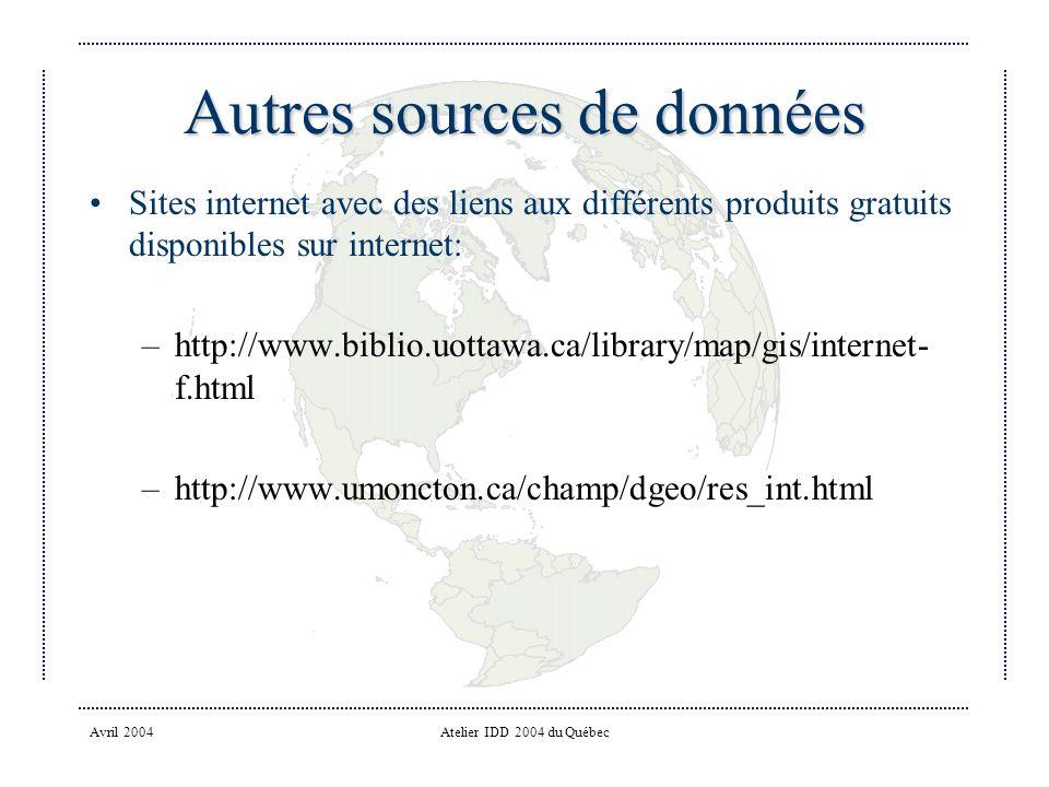 Autres sources de données