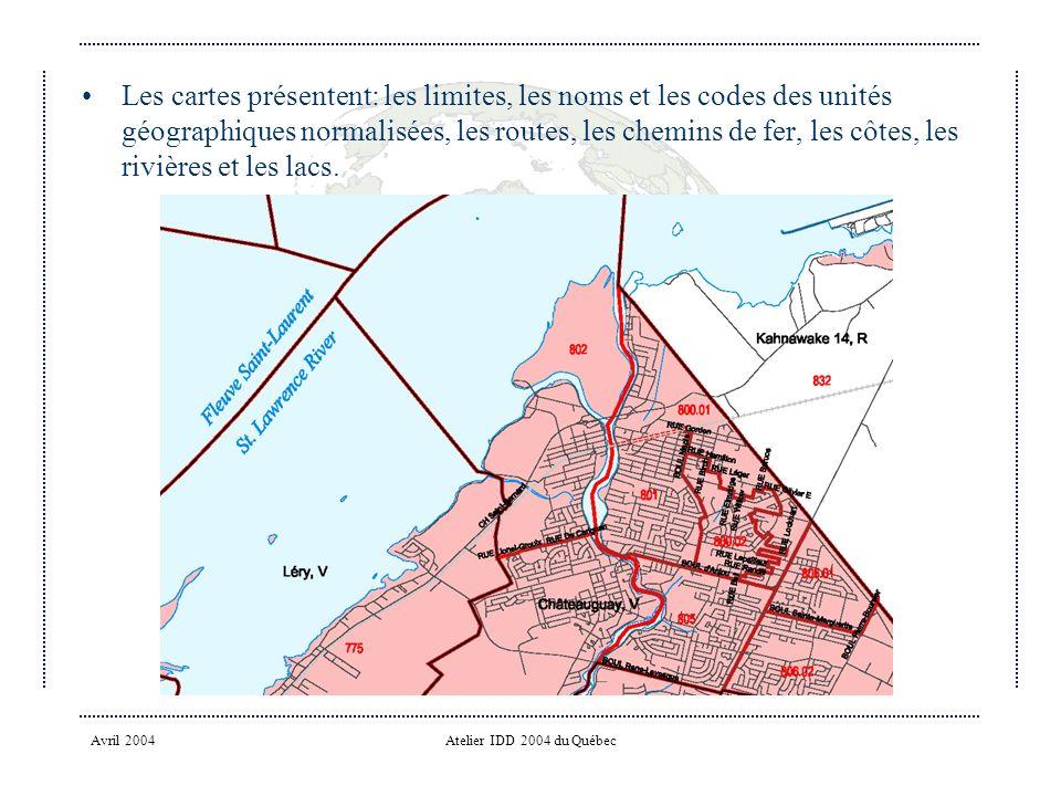 Les cartes présentent: les limites, les noms et les codes des unités géographiques normalisées, les routes, les chemins de fer, les côtes, les rivières et les lacs.