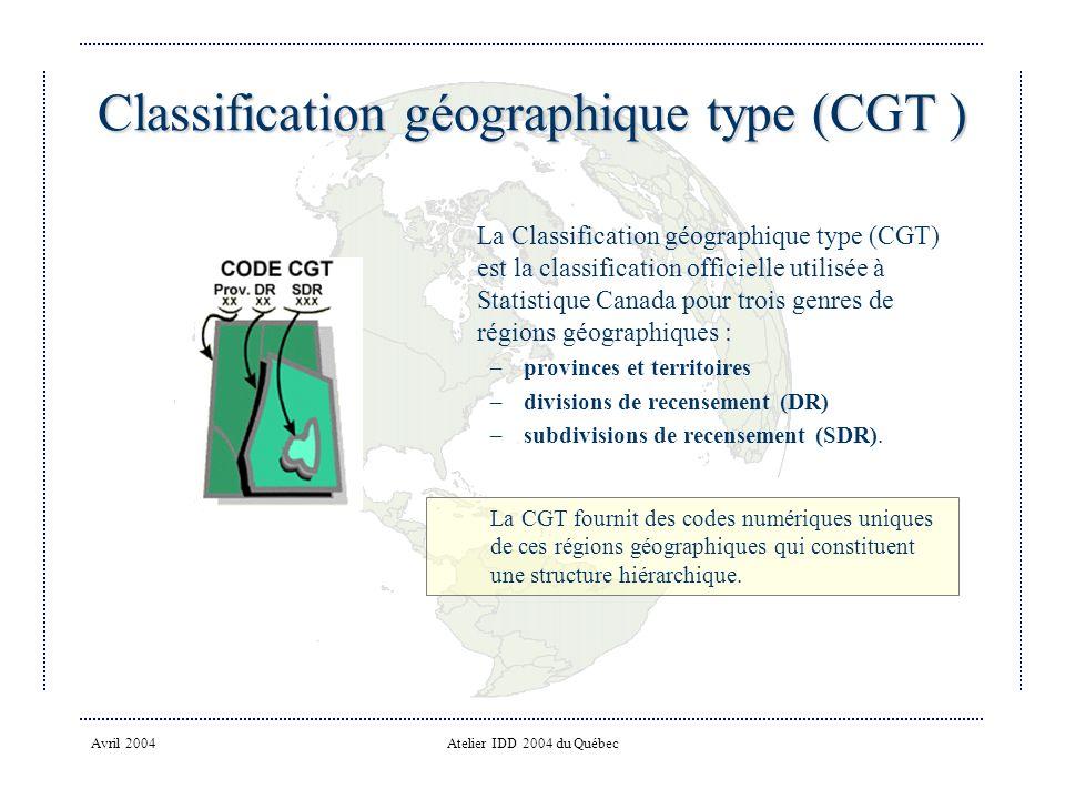 Classification géographique type (CGT )