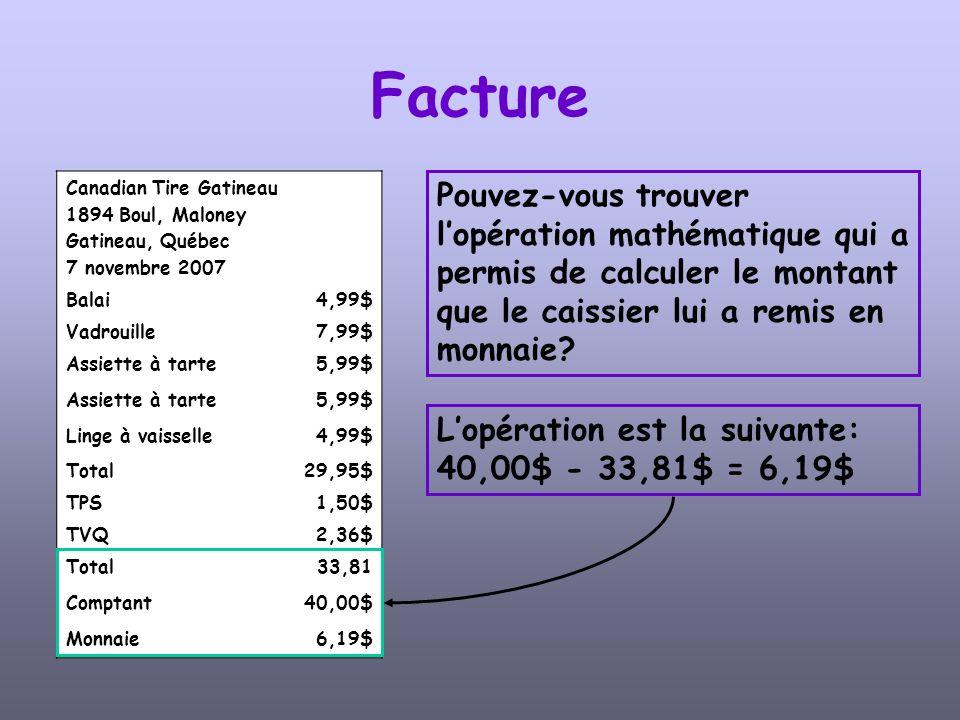 Facture Canadian Tire Gatineau. 1894 Boul, Maloney. Gatineau, Québec. 7 novembre 2007. Balai. 4,99$