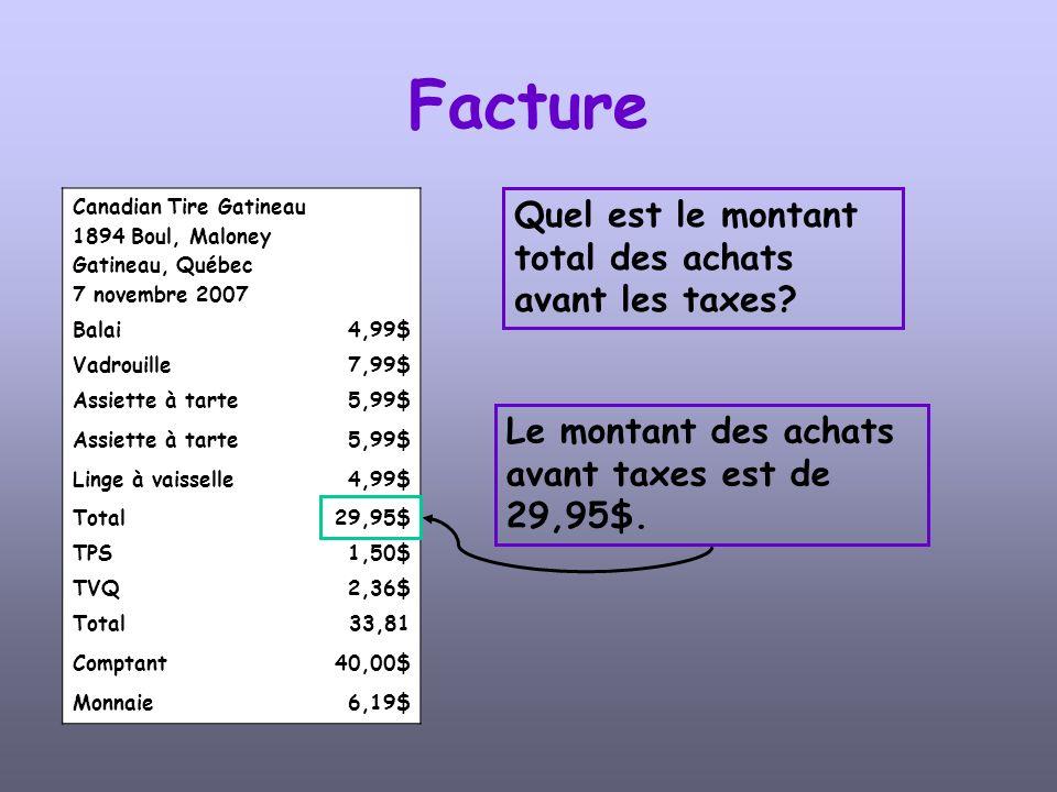 Facture Quel est le montant total des achats avant les taxes