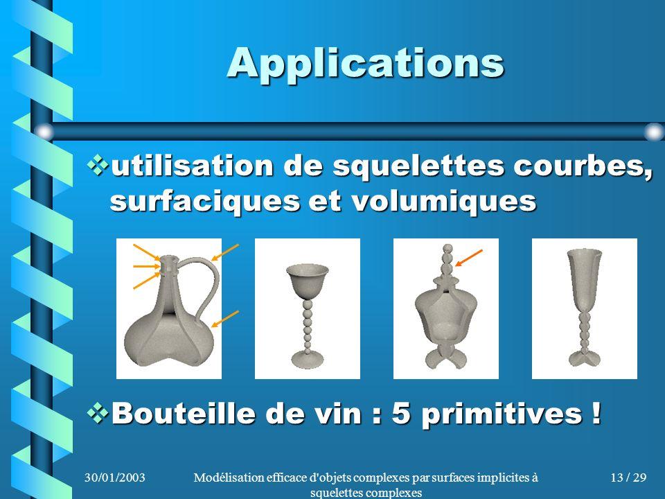 Applications utilisation de squelettes courbes, surfaciques et volumiques. Bouteille de vin : 5 primitives !