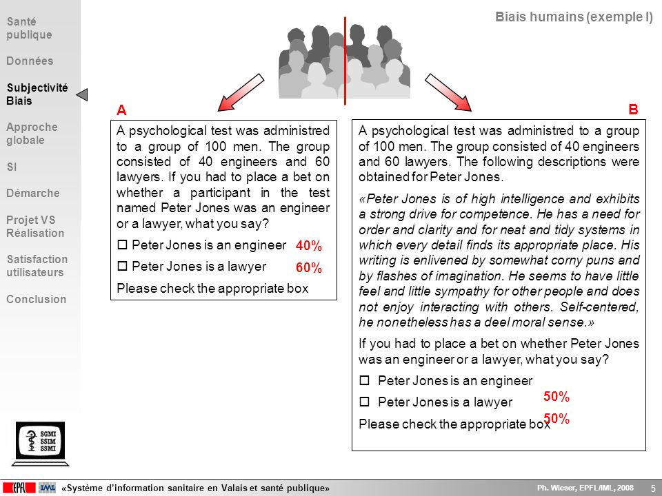A B Biais humains (exemple I)