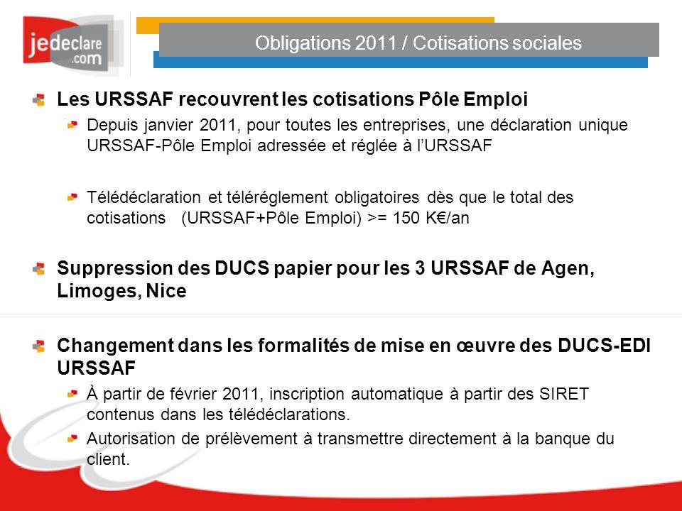 Obligations 2011 / Cotisations sociales