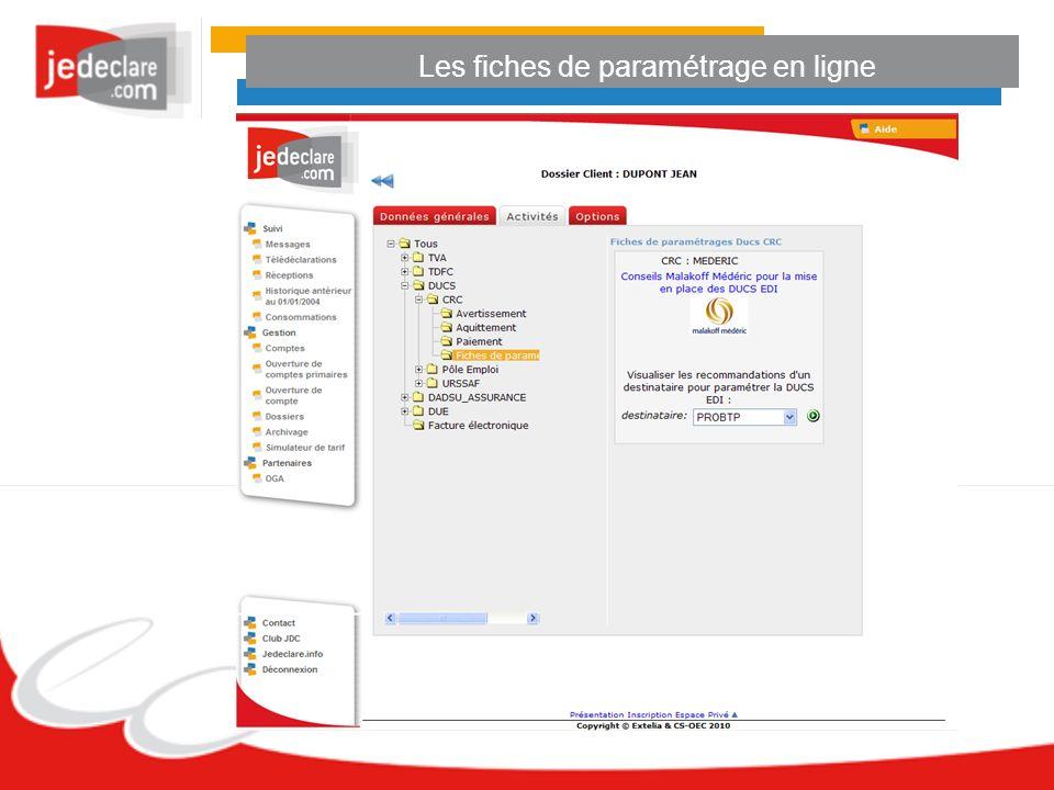 Les fiches de paramétrage en ligne