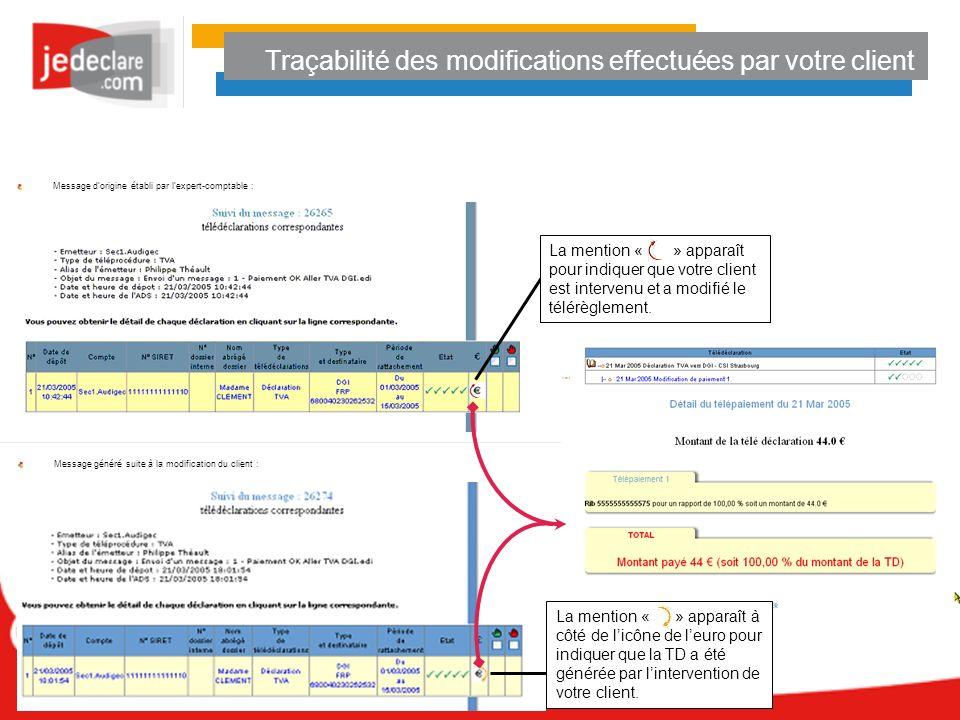 Traçabilité des modifications effectuées par votre client