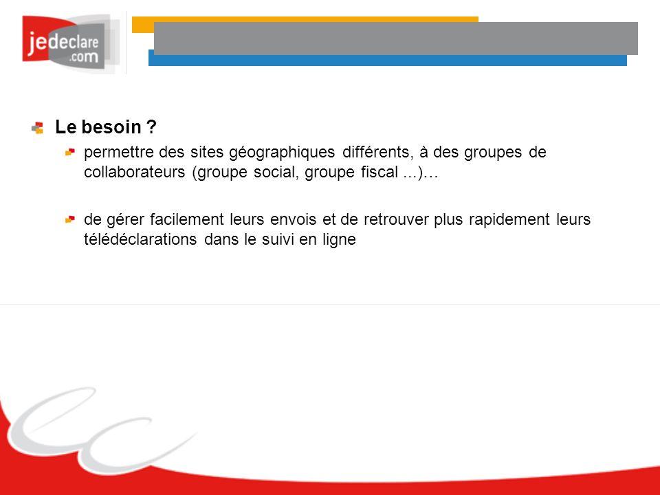 Le besoin permettre des sites géographiques différents, à des groupes de collaborateurs (groupe social, groupe fiscal ...)…