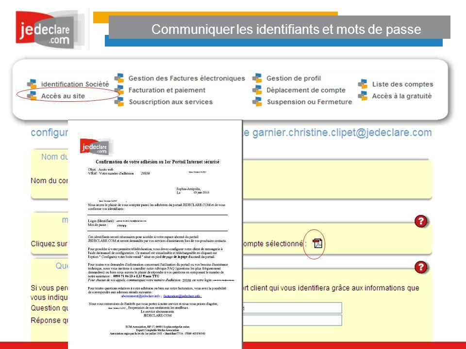 Communiquer les identifiants et mots de passe