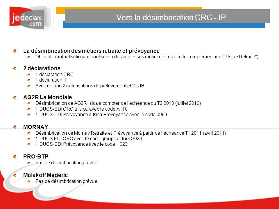Vers la désimbrication CRC - IP