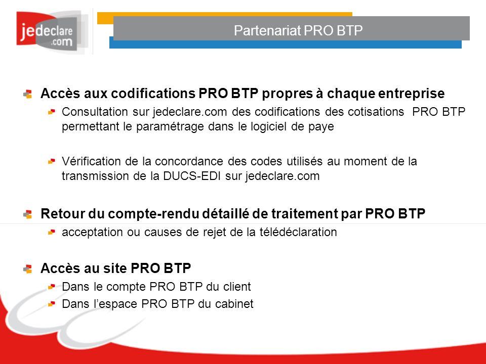 Accès aux codifications PRO BTP propres à chaque entreprise