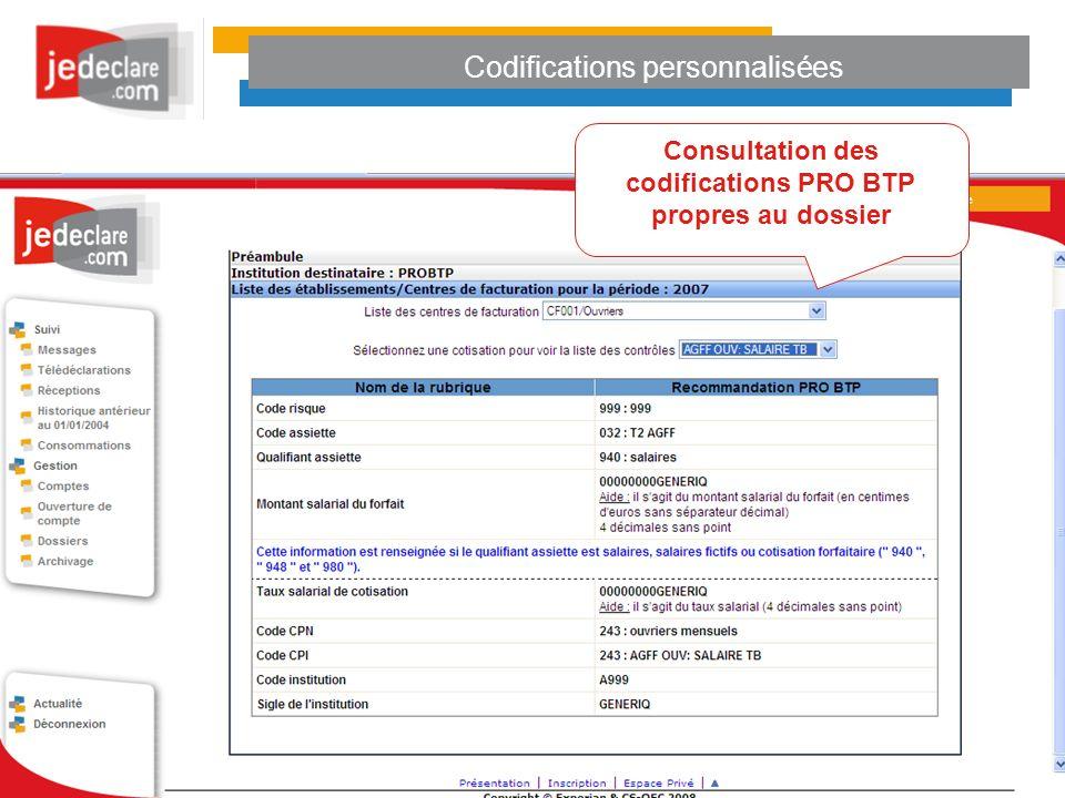 Codifications personnalisées