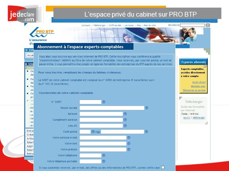 L'espace privé du cabinet sur PRO BTP