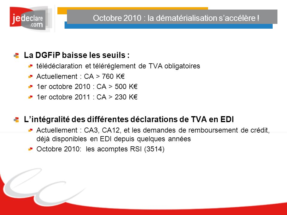 Octobre 2010 : la dématérialisation s'accélère !