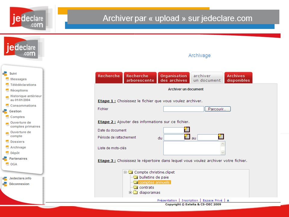 Archiver par « upload » sur jedeclare.com