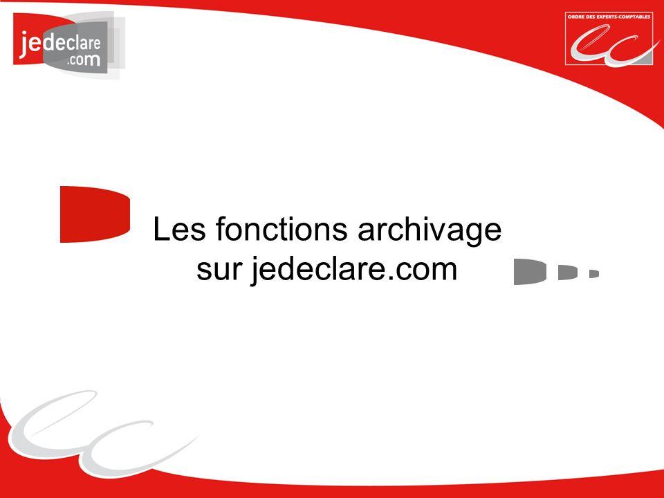 Les fonctions archivage sur jedeclare.com