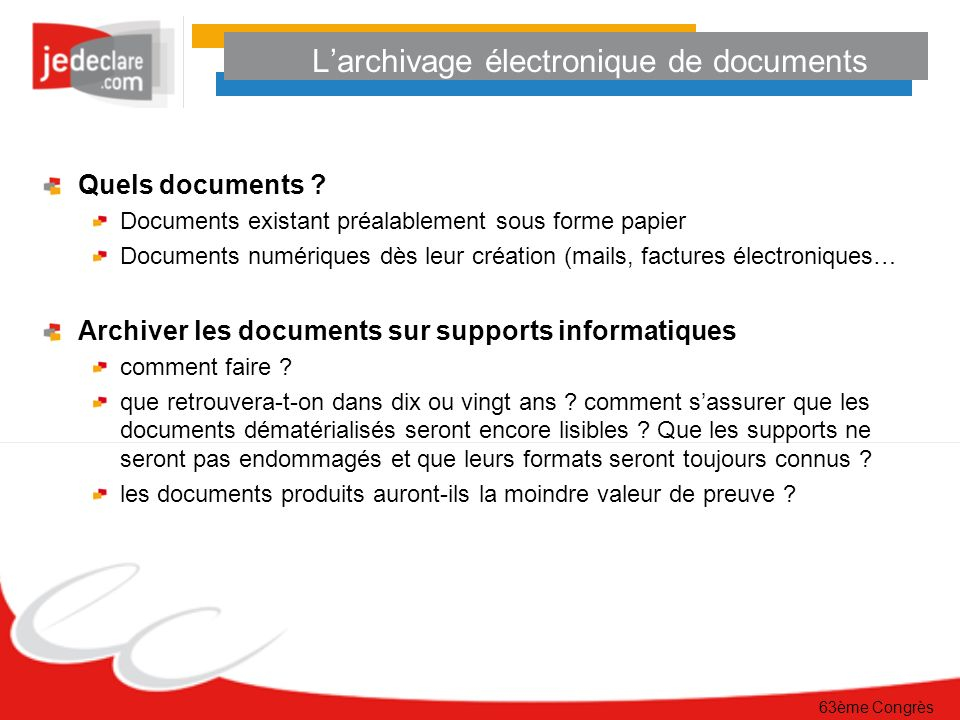 L'archivage électronique de documents