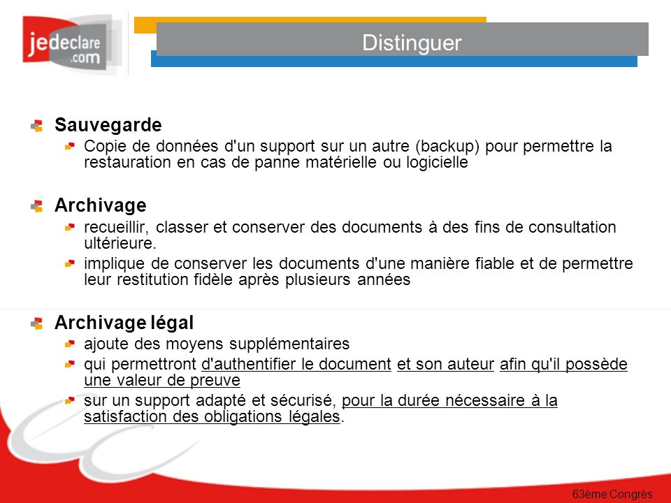 Distinguer Sauvegarde Archivage Archivage légal