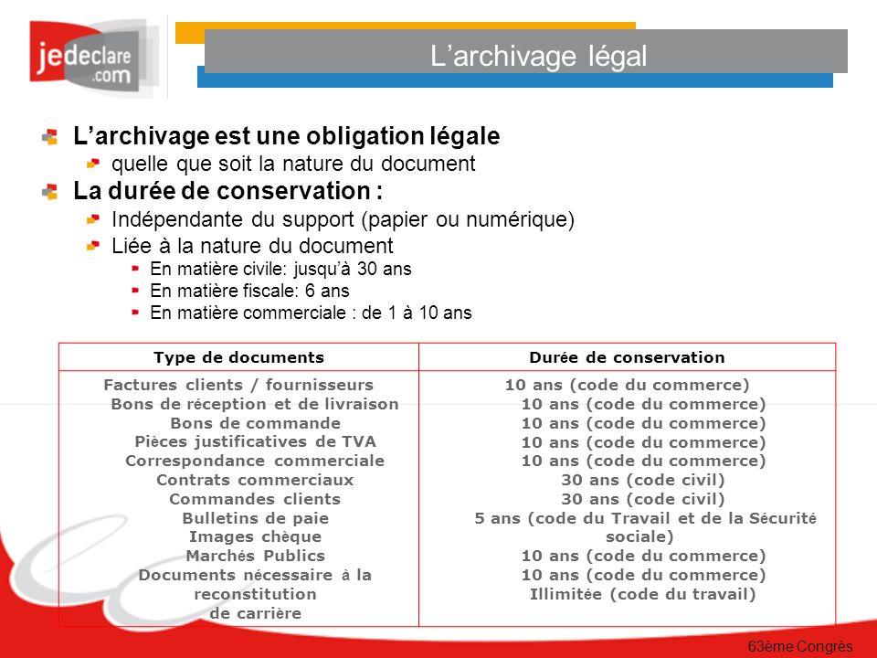 L'archivage légal L'archivage est une obligation légale
