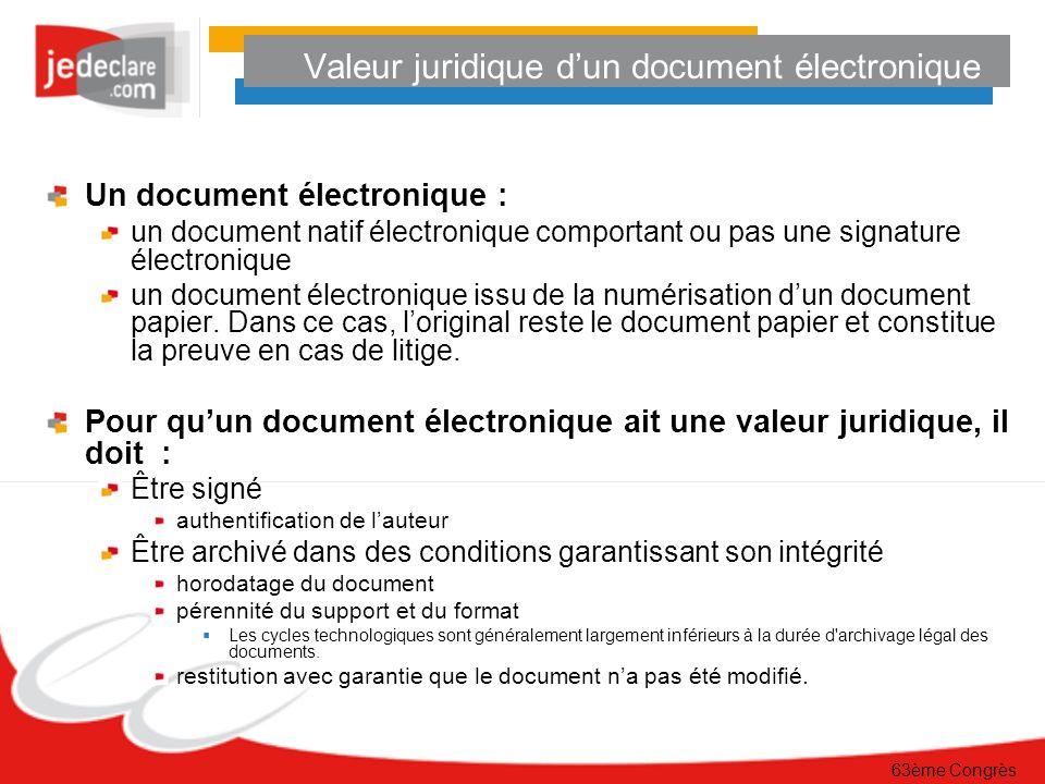 Valeur juridique d'un document électronique
