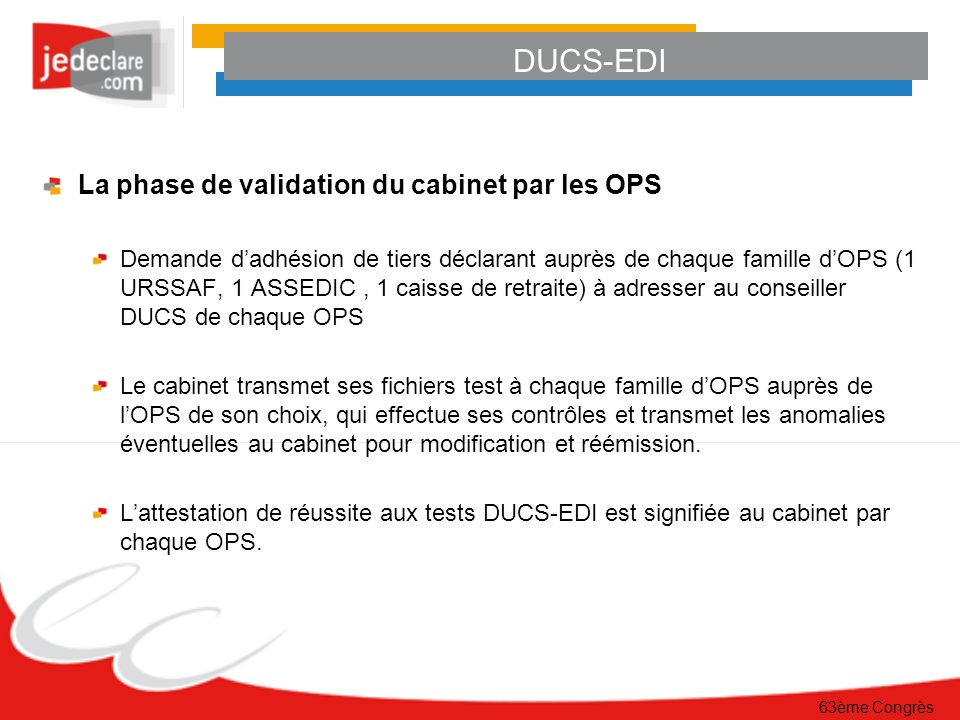 DUCS-EDI La phase de validation du cabinet par les OPS