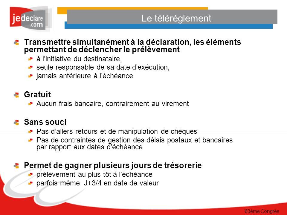 Le téléréglement Transmettre simultanément à la déclaration, les éléments permettant de déclencher le prélèvement.