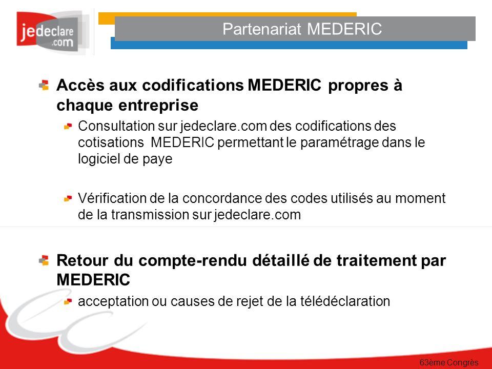 Accès aux codifications MEDERIC propres à chaque entreprise