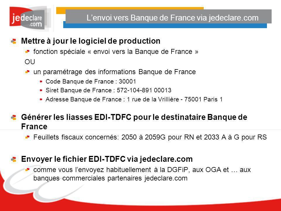 L'envoi vers Banque de France via jedeclare.com