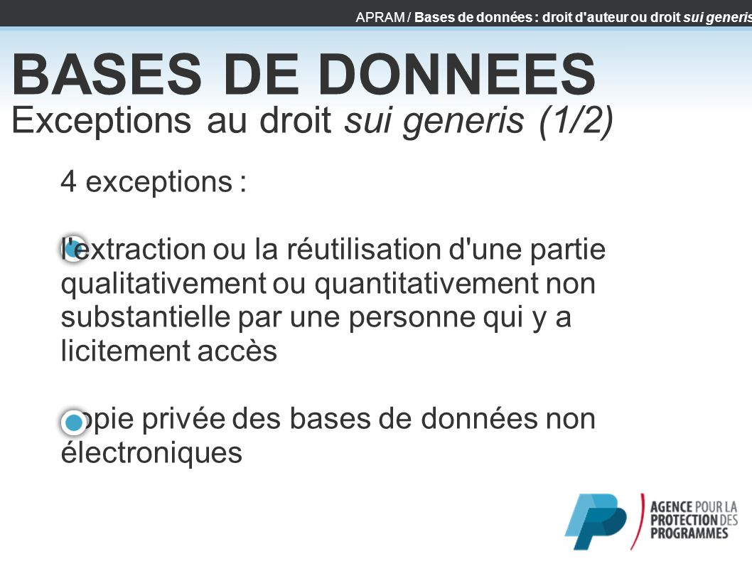 BASES DE DONNEES Exceptions au droit sui generis (1/2)‏ 4 exceptions :