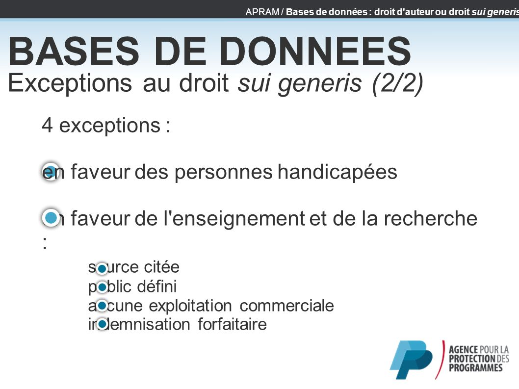 BASES DE DONNEES Exceptions au droit sui generis (2/2)‏ 4 exceptions :
