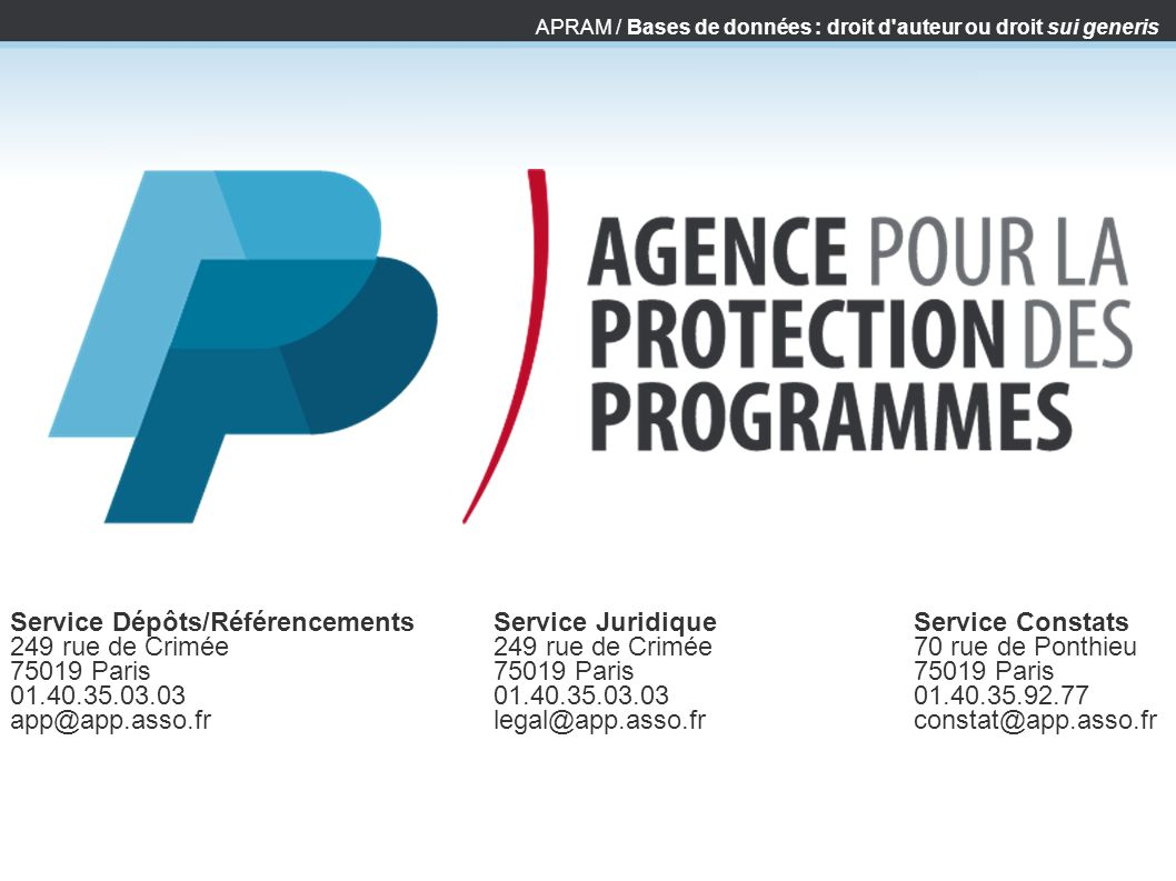 Service Dépôts/Référencements 249 rue de Crimée 75019 Paris