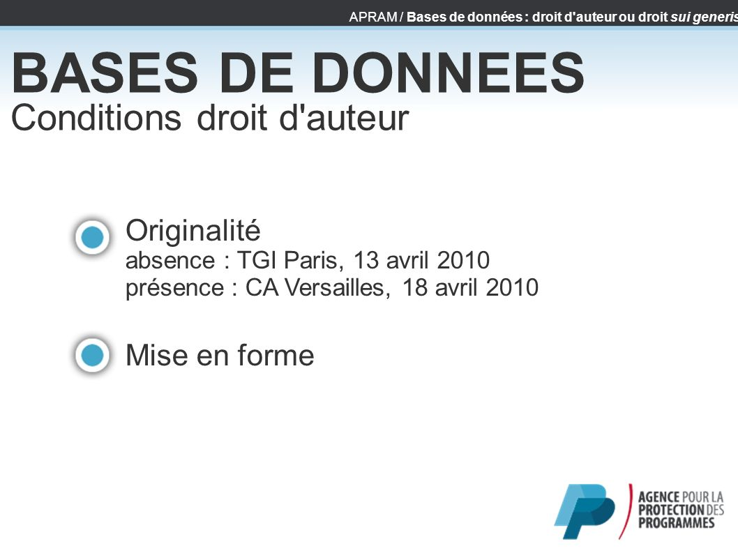 BASES DE DONNEES Conditions droit d auteur