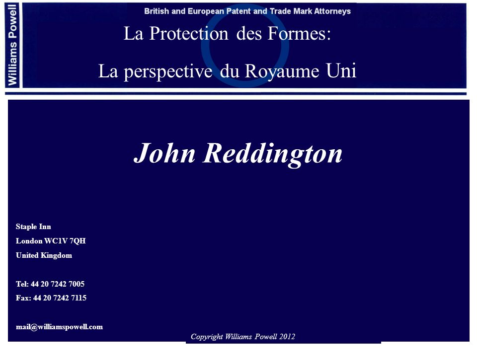 John Reddington La Protection des Formes: