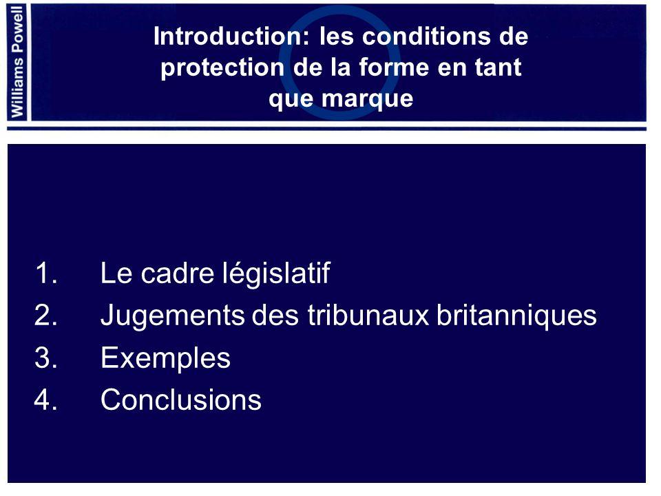 2. Jugements des tribunaux britanniques 3. Exemples 4. Conclusions