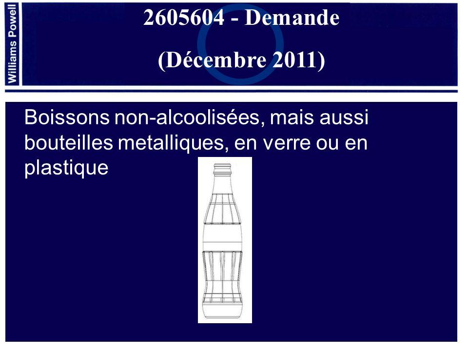 2605604 - Demande (Décembre 2011) Boissons non-alcoolisées, mais aussi bouteilles metalliques, en verre ou en plastique.