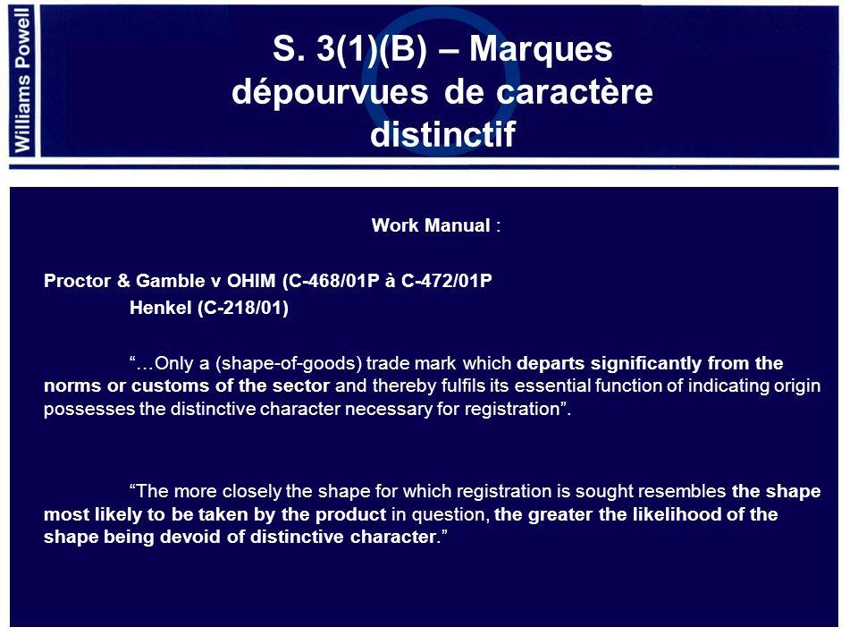 S. 3(1)(B) – Marques dépourvues de caractère distinctif