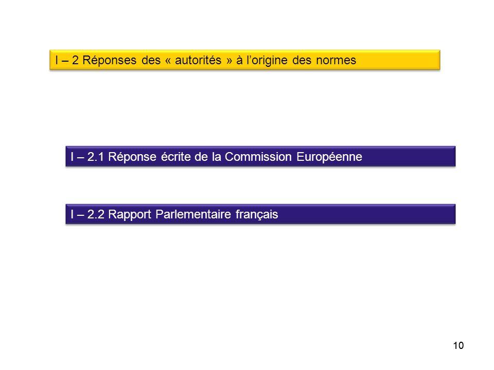 I – 2 Réponses des « autorités » à l'origine des normes