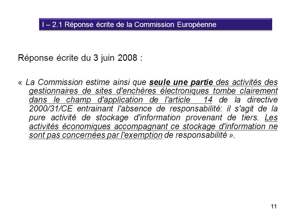 Réponse écrite du 3 juin 2008 :