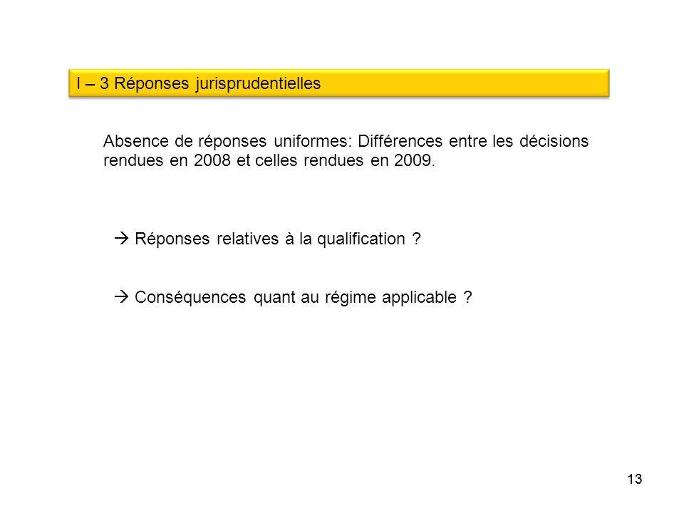 I – 3 Réponses jurisprudentielles