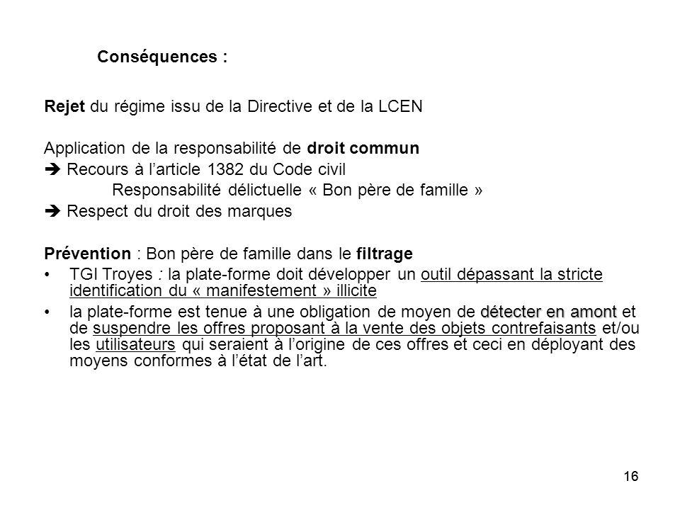 Rejet du régime issu de la Directive et de la LCEN