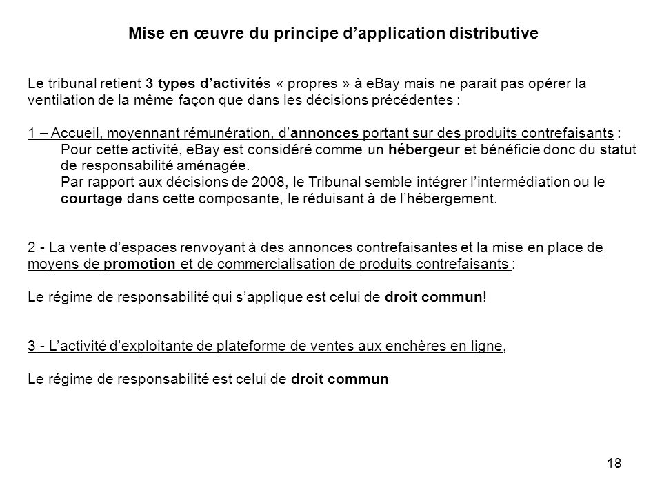 Mise en œuvre du principe d'application distributive