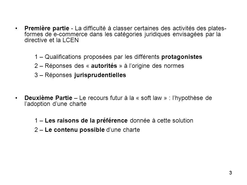 1 – Qualifications proposées par les différents protagonistes